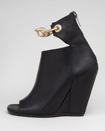 Rick Owens Chain-Strap Leather Wedge, Black
