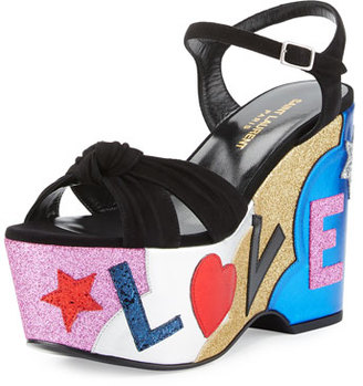 Saint Laurent Candy Love Wedge Sandal, Nero/Multi $1,095 thestylecure.com