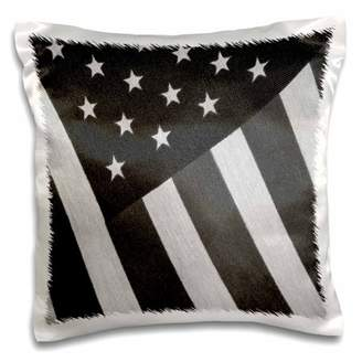N. 3dRose Cloth American Flag Black White - Pillow Case, 16 by 16-inch