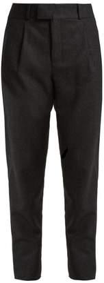 Saint Laurent Signature Pinstripe Wool Trousers - Womens - Black
