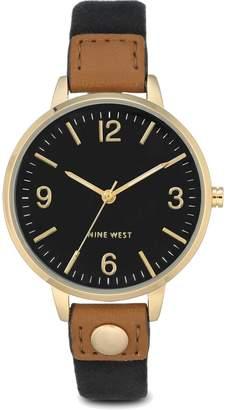 Nine West Ladies Orianah Black Canvas Strap Watch