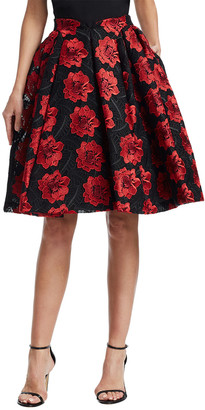 Zac Posen Floral Embroidery Flare Skirt