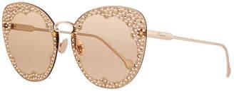 Salvatore Ferragamo Fiore Rimless Cat-Eye Sunglasses w/ Crystal Embellishment