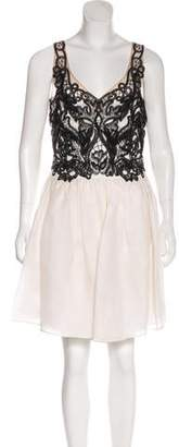 Marchesa Lace-Trimmed Silk Dress