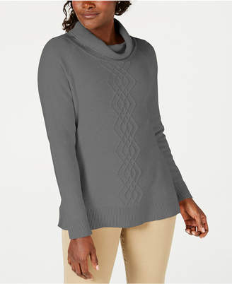 Karen Scott Cotton Funnel-Neck Sweater