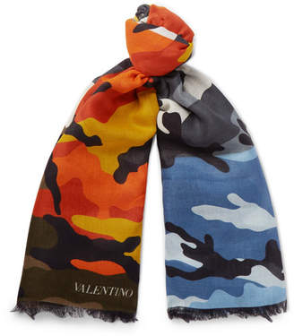 Valentino Camouflage-Print Modal and Cashmere-Blend Scarf - Multi