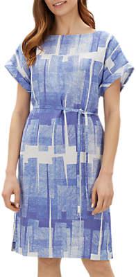 Jaeger Graphic Block Print Dress, Blue/White