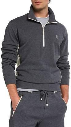Brunello Cucinelli Men's Quarter-Zip Heathered Pullover Sweater