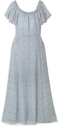 LoveShackFancy Evelyn One-shoulder Ruffled Printed Silk-georgette Maxi Dress - Light blue
