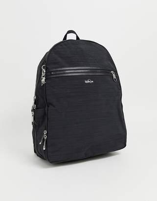Kipling black zip detail backpack with silver monkey charm