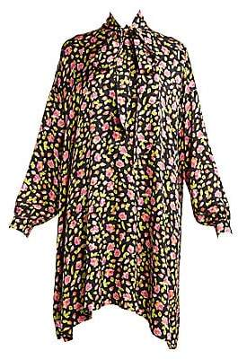Balenciaga Women's Vareuse Floral Tieneck Shift Dress