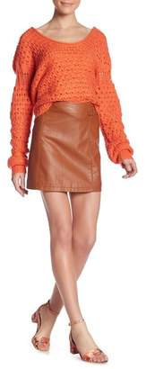 Free People Charli Faux Leather A-Line Skirt