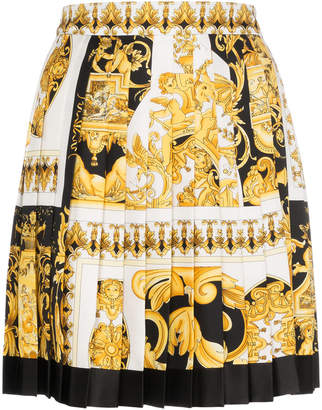 Versace Silk Pleated Barocco Print Skirt