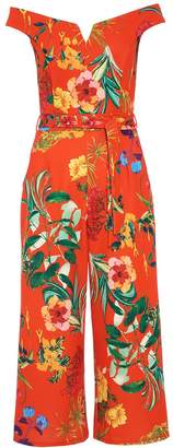 Quiz Orange Floral Bardot Culotte Jumpsuit