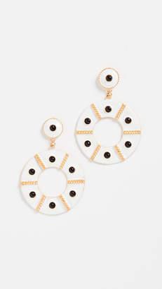 Kenneth Jay Lane Enamel Black Dots Earrings