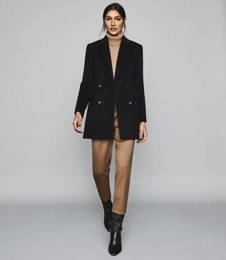 Reiss MARLOE Double Breasted Short Wool Coat Black