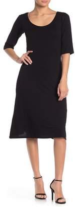 Velvet Torch 3/4 Sleeve Scoop Neck Midi Dress