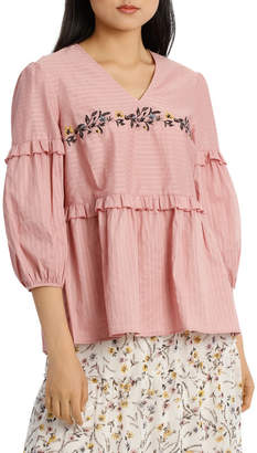 Top Embroidered Self Stripe