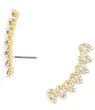BaubleBar Pave Droplet Ear Crawlers