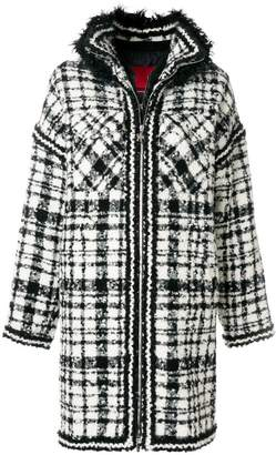 Moncler Gamme Rouge alpaca fur trim checked coat