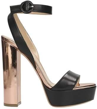 Lerre Plateau Black Nappa Leather Sandals