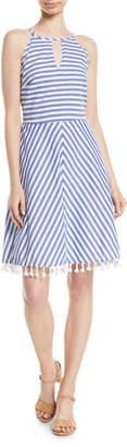 Letarte High-Neck Striped Cotton Halter Dress w/ Tassel Hem