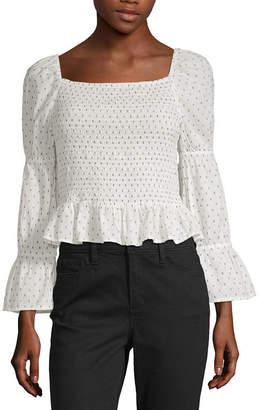 cec435e19c27a0 A.N.A Womens Square Neck Long Sleeve Blouse