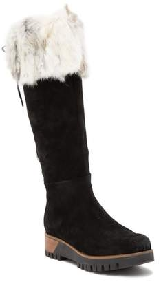 Manas Design FUR Suede Back Lace-Up Knee High Boot