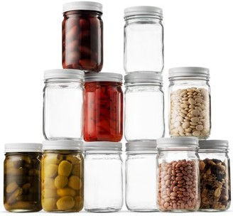 Shopokus High Quality Glass Mason Jars (12 Pack) - 12 Ounce Regular Mouth Jam Jelly Jars, Metal Lid, Dishwasher Safe, For Pickling, Preserving, Decorating, Canning Jar, Craft and Dry Food Storage