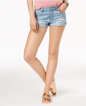 Indigo Rein Juniors' High-Waisted Cuffed Denim Shorts