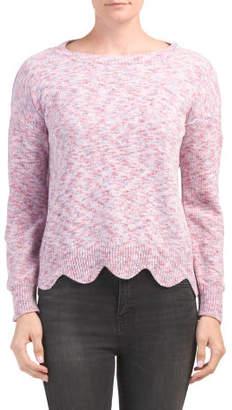 Boat Neck Scalloped Chenille Sweater