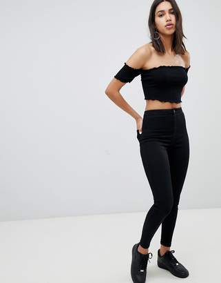 Asos Design DESIGN off shoulder lettuce hem crop top in black