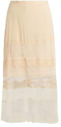 Jonathan Simkhai Lace Panel Silk Georgette Skirt - Womens - Cream
