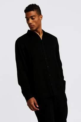 boohoo Jacquard Leopard Long Sleeve Shirt