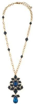 Oscar de la Renta Crystal Drop Pendant Brooch Necklace