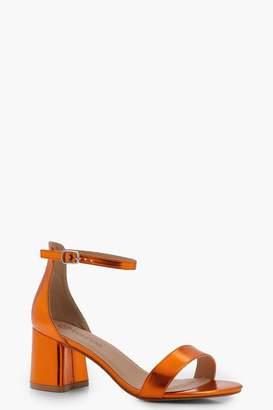 boohoo Wide Fit Metallic Block 2 Part Heels