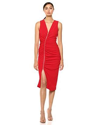 Dress the Population Women's Ivy Exposed Zipper Plunging Midi Sheath Dress