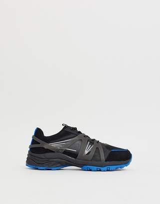 Asos Design DESIGN dad sneakers in black mesh with blue color flash chunky sole