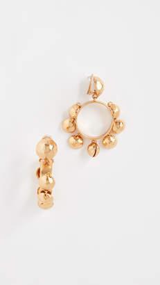 Oscar de la Renta Bold Bead Hoop Clip On Earrings