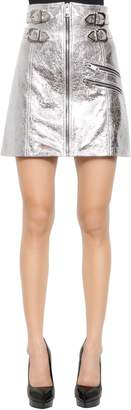 Versus Crackled Metallic Leather A-Line Skirt