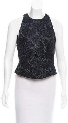 Carmen Marc Valvo Embroidered Sleeveless Top