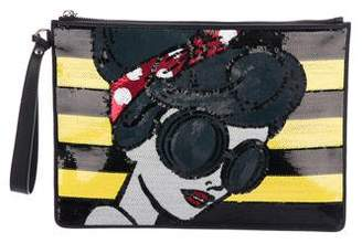 Alice + Olivia Sequin & Leather Clutch