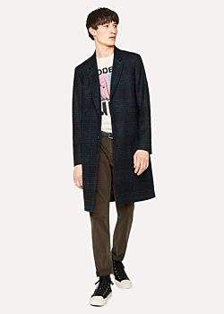Paul Smith Men's Navy Check Wool-Blend Epsom Coat
