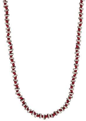 M. Cohen Men's Sterling Silver Rondelles On Cord Necklace