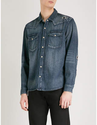 The Kooples Distressed relaxed-fit denim shirt