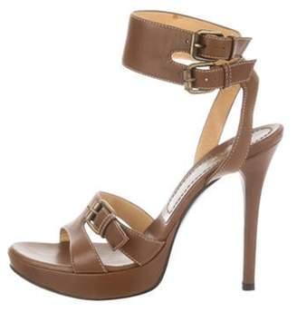 Casadei Leather Platform Sandals Brown Leather Platform Sandals