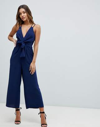 Asos Design DESIGN jumpsuit with tie front and wide leg