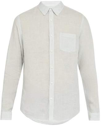 Onia Striped Linen Shirt - Mens - Sky Blue