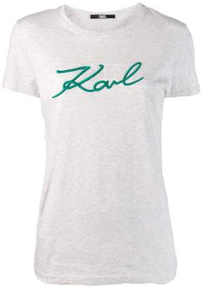 Karl Lagerfeld Paris logo embroidered T-shirt