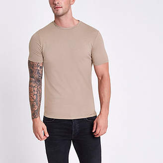 River Island Brown marl muscle fit crew neck T-shirt